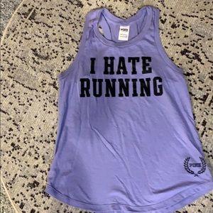"Pink-VS purple cotton tank top, ""I HATE RUNNING"""